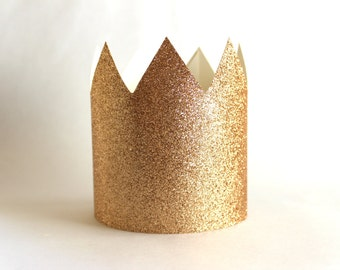 Chamagne Gold Paper Crowns - Set of 6 - Birthday Party Hat - Champagne Crown, Where the Wild Things Are, Bronze Party
