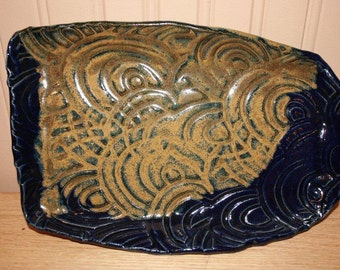 Blue and gold pottery tray, soap dish, trinket tray, letter tray