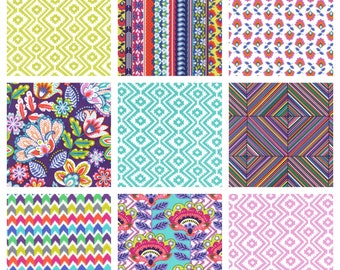 Fiesta Fat Quarter Bundle, Michael Miller Fabrics, Aztec Grape Purple, Bright Colorful Modern Quilting, Pink Aqua Green Flowers
