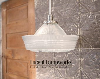 "Downrod Pendant Lighting with Vintage Holophane Glass ""Correctalite"" Shade"