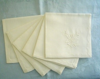 Unused White Linen Napkins with Hand Embroidered Roses Set of 6 with Label
