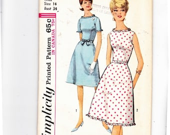 "Simplicity 5396 Rockabilly Sleeveless/ Short Sleeve Dresses With Self Made Ruffles Uncut Pattern Size 14, Bust 34"" - 3"
