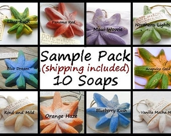 10 SOAP SAMPLE PACK - Shipping Included - Dope on a Rope - Hemp Soap on a Rope - Full Sized and Individually Sealed - 420 Gifts - Marijuana