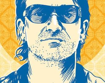 Bono - U2 - Pop Art Print - 13 x 19