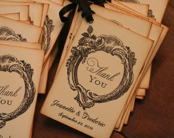 Wedding Favor Tags, Wedding Thank You, French Wedding, Chrisian, Shabby Chic, Vintage, Personalized, Romantic, Marie Antionette, Gift Tags,