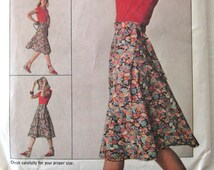 1970s Wrap Skirt Pattern, Simplicity 7876,, Womens Jiffy Front Wrap Bias Skirt, Easy to Sew,  Misses Size Small, Waist 25-26.5