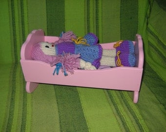 Pink bed Doll Crib Bed Toy Gift rocking bed swing bed