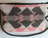 Small Pink and Gray Purse Made With Wool, Cross Body or Shoulder