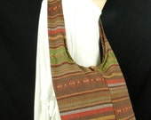 Hand Woven Cotton Bag Purse Hobo Hippie Sling Crossbody Messenger IKAT Lined Top Zip A33
