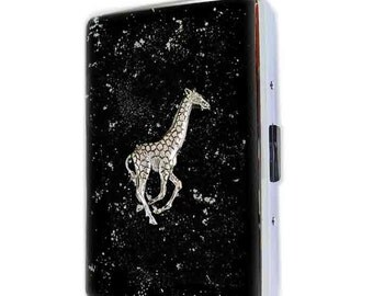 Metal Cigarette Case Antique Silver Giraffe in Hand Painted Black Enamel Safari Inspired Metal Wallet Custom Colors and Personalized Option