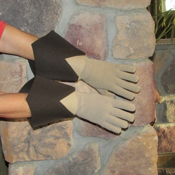 Vintage 1920s Gauntlet Driving Gloves Art Deco Knit Gloves
