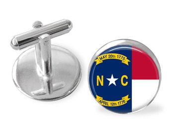 NORTH CAROLINA State Flag Cufflinks / NC cuff links / Tar Heel State  / state flag jewelry / Groomsmen Gift / Personalized / Gift Boxed