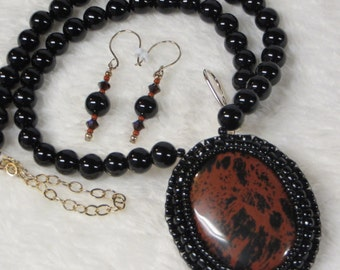 Necklace Beaded Black Onyx with Obsidian Pendant and Earrings
