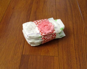 Sale Riley Blake Sweetcakes Red, White and Pink Daisy Diaper Strap with Matching Pink Frayed Shabby Chiffon Flower