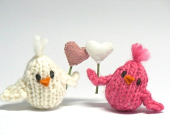 Valentine's Day, Valentine Ornaments, Knit Birds, Love Birds, Bird Ornament, Friendship, Bird Ornaments, Pink, White Birds Hearts