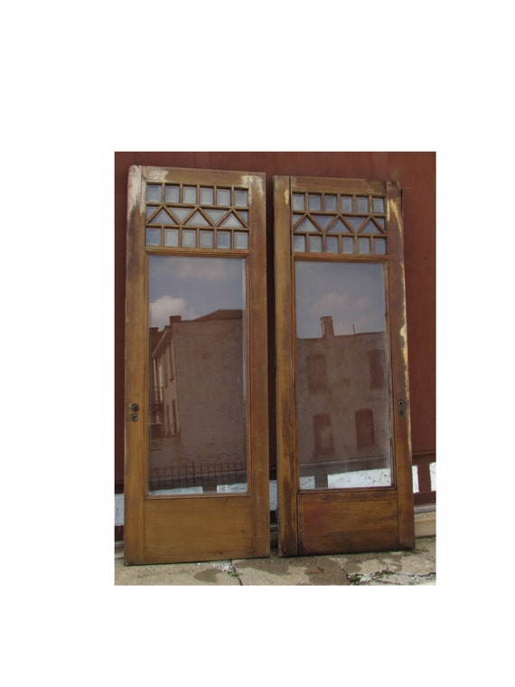 Pair Antique Victorian Era Door Solid Wood Double Entry