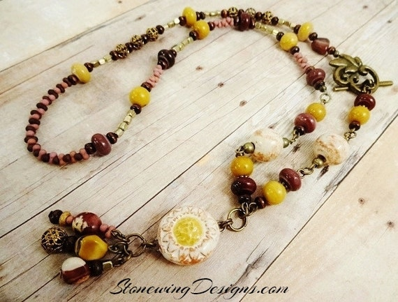 Artisan Ceramic Daisy, Yellow Jasper, Mookaite Jasper and Wood Necklace