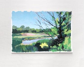 "12x8"" gouache on paper landscape - ""Marsh"""