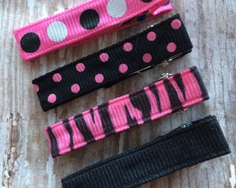 Hot Pink and Black Hair Clip Set Ribbon Lined Clippies Babies-Toddler-Girls