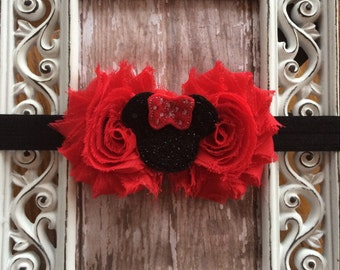 Red Black Sequin Minnie Mouse Double Flower Headband Babies Toddlers, Girls