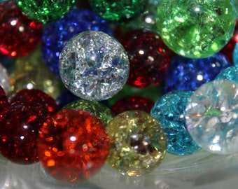 5 Vintage Shattered Glass Marbles