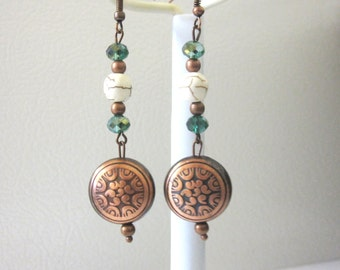 Teal Blue Western Earrings Copper Concho Cowgirl Bling