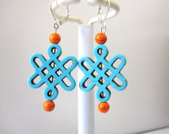 Abstract Earrings Turquoise Blue Orange Stone Leverback