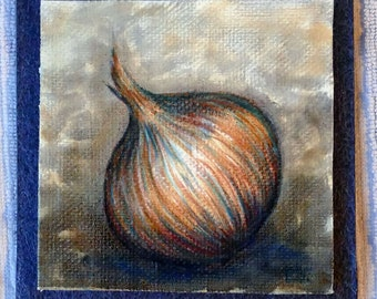 Onion, original miniature  oil-painting on canvasboard, Small painting, kitchen art, mini painting, small yellow onion, tiny veggie art