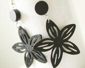 Buy 3 GET 1 FREE// Black  Long Flower  Filigree Laser  Cut  Wood Earring