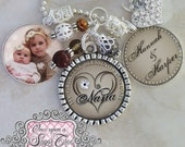 NANA GIFT, Personalized Grandma Necklace Aunt Godmother Triple Pendant NECKLACE (or Key Chain), Photograph, My Greatest Blessings, Children