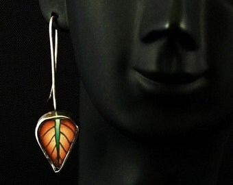Sterling Silver and Polymer Clay Leaf Earrings - Orange