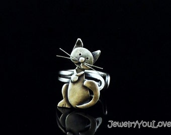 Sterling Silver Cat Ring - Camille