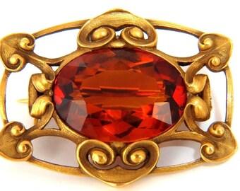 Parisian Mod 14KT 10.00ct. Natural Orange Yellow Citrine Brooch Pin Gilt Deco