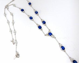 8.94ct Natural Blue Sapphire Diamond Cluster Necklace 18KT Vivid Royale