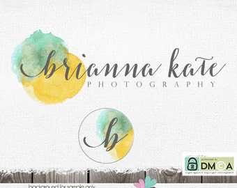 Photography Logo - Watercolor premade logo Swirly Text Logo for plus circle initial design photographer boutique