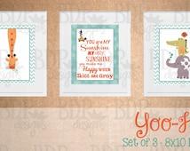 Yoo-Hoo Jungle You Are my Sunshine Whales n' Waves Nursery Art - Set of 3 Prints - Customizable