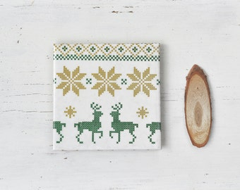 Christmas Coasters Deer Stiched Scandinavian Pattern Winter Holiday Christmas Set Hostess Gift Red Gold Green Drink Tile Coasters
