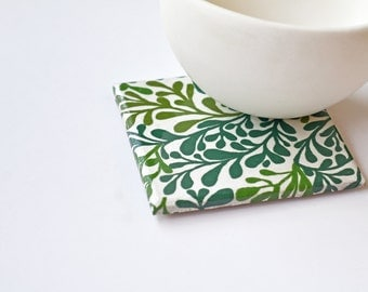 Ceramic Coasters Plant Life Succulents Green Leaves Botanic Drink Tile Coasters Christmas Hostess Gift