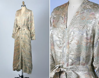 1930s lingerie/ 40s Chinese brocade dressing gown/ silk
