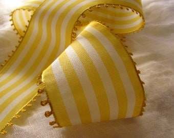 Yellow and White Striped Ribbon, Vintage Picot Ribbon, White and Sunshine Taffeta Ribbon, Wide Ribbon, Picot Edge, Vintage Millinery, Spring