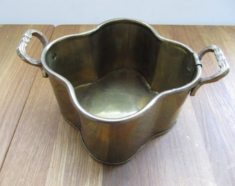 Clover Shaped Brass Planter--Vintage Brass Planter--Shaped Brass Planter