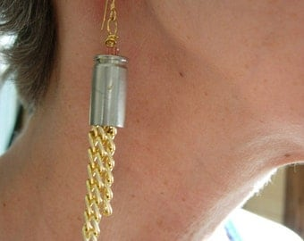 Dangle earrings 9mm pistol shell with seed beads and chains recycled, upcycled