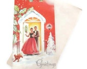 Vintage Christmas Card - Christmas Party Hosts - African American Couple - One Card original Envelope - Ebony Classics - Black Americana