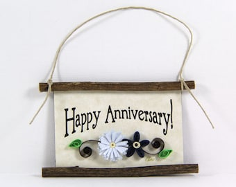 Paper Quilled Magnet 396- Happy Anniversary, Husband and Wife Gift, Kitchen Decor, Anniversary Ornament, 3D Paper Quilling, Couples Gift