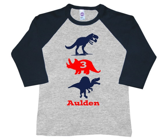 Personalized Dinosaur Birthday Shirt -Up to three dinos of your choice - Pick your colors!