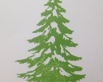 Snowy Fir Tree Rubber Stamp 2113