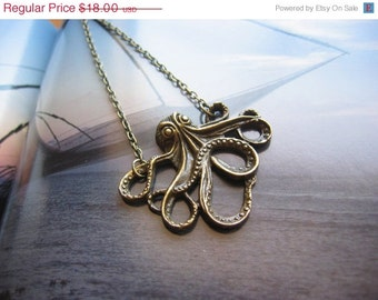 NEW YEAR Octopus Necklace - Antiqued Bronze Octopus Charm Necklace - You Pick the Length