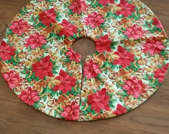 Pink Poinsettias Tree Skirt (small)