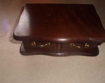vintage solid wood jewelry box mirror