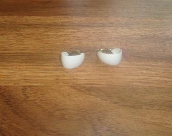 vintage clip on earrings white metal hoops